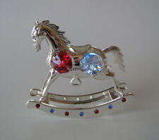 SWAROVSKI CRYSTAL ELEMENTS ROCKING HORSE FIGURINE-ORNAMENT SILVER PLATED