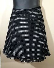I.N.STUDIO Woman's 2X SKIRT Black White POLKA DOT Ruffle Tier Lined Career Casua
