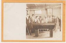 Real Photo Postcard RPPC - Men Playing Billiards Pool - Masse Shot