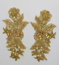 Handmade Venise Lace Sequins Applique Trim Motif  M Gold #13