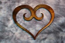 "Extra Small  3 1/2"" Ornamental Scrolled Heart /Bronze Plated Metal Wall Decor"