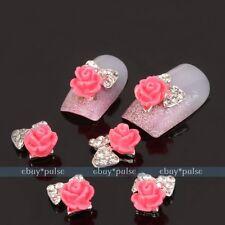 10x Alloy Nail Art 3D Rose Bow Tie Rhinestone Glitters Acrylic DIY Decoration #5