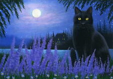 Black cat haunted house lavender lake moon Halloween limited edition aceo print