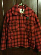 VINTAGE Woolrich Red Mackinaw Shadow Plaid Wool Hunting Jacket Large 44 Rare
