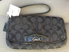 Coach Black Signature Large Flap Wristlet style number F48127 NWTS $118