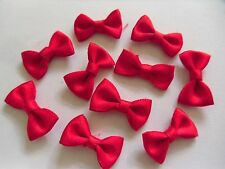 """10 x """"Berry Red Tied Satin Ribbon Bows"""" Silky Soft Embelishment Craft Decoration"""