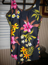 Shore Shapes Swimsuit Hawaiian Floral Tropical Cruise Swimwear Plus Size 16 E510