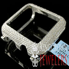 14K White Gold On Real Sterling Silver Lab Diamond Case 42MM Apple Watch Bezel
