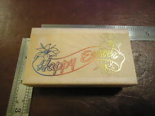 HAPPY EASTER BANNER RUBBER STAMP QUOTE SAYINGS EASTER SUNDAY FLOWERS