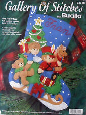 "#33710 BUCILLA 1997 ""SLED FULL OF TOYS"" BEAR HORSE 15"" FELT STOCKING KIT - NIP!"