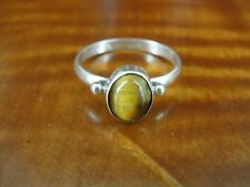 Tiger's Eye with side Bead design Sterling Silver 925 Ring Size 8