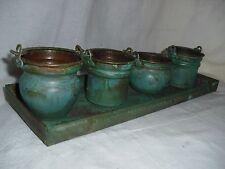 EUC Vintage Copper Tray w/4 Mini Copper Planter Pots w/Handles- Made in Turkey