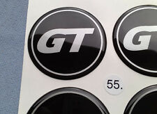 (GT55SS) 4x GT Embleme für Nabenkappen Felgendeckel 55mm Silikon Aufkleber