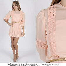 vtg 70s Peach Lace Dress Boho Wedding Pleat Floral Secretary Cocktail Party Mini