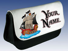 PIRATE SHIP PERSONALISED PENCIL CASE / DS HOLDER BAG *GREAT BOYS / GIRLS GIFT*