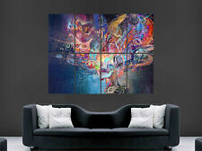 SKULL MAN TRIPPY DRAGON GIANT WALL ART PICTURE PRINT LARGE HUGE