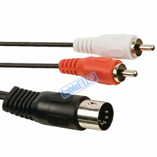 1m 5 PIN MIDI DIN PLUG to TWIN 2 RCA PHONO RED & WHITE MALE PLUGS AUDIO CABLE