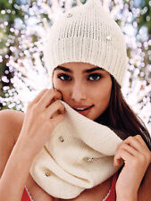Victoria's Secret Women's Ivory Crystal Embellished Scarf & Beanie Set **
