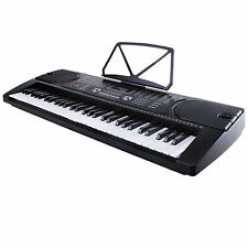 Black 61 Key Music Electronic Keyboard Electric Digital Piano Organ w/Microphone