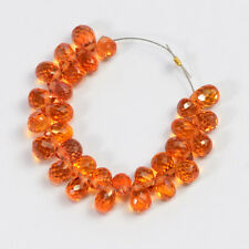 Natural Padparadscha Orange Sapphire Faceted Teardrop Briolette Beads (30)