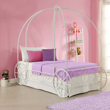 White Twin Metal Carriage Canopy Bed Frame Home Living Bedroom Girls Furniture