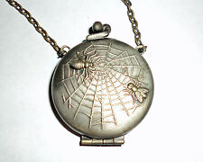 Vintage Silver Art Deco Spider Web Fly Double Sided Locket Compact Mirror Puff