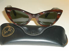 VINTAGE B&L RAY BAN W0960 TORTOISE G15 LENS LISBON CATS EYE  SUNGLASSES SUPERB!!