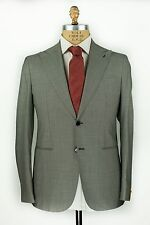 NWT Gabo Napoli (G.Abo) Gray Houndstooth Suit 42/54 Handmade in Italy by Isaia