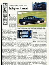 1992 VW Volkswagen Passat GLX Original Car Review Print Article J643