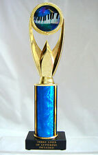 "MUSIC TROPHY,  MUSIC AWARD PIANO KEYS 4"" BLUE FREE LETTERING"