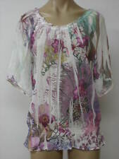 Mushka Sienna Rose Sheer 3/4 Sleeve Blouse Tunic Top P XL Petite XL NWT