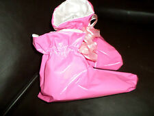ADULT BABY SISSY   PINK PVC   BOOTIES   WHITE SATIN LINED ORGANZA BOWS M/L