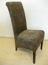 1 ANIMAL PRINT DINING CHAIR BLACK / GOLD BROWN  LIKE EX NEXT FABRIC WOOD BRITISH