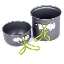Camping Hiking Picnic Cookware Cook Cooking Pot Bowl Set Aluminum Outdoor Perfec