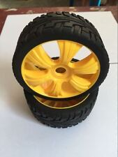 New 4PCS Yellow 1/8 Scale RC Off Road Car Buggy Racing Tires Tyre and Wheels E