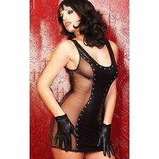 Black Wet Look Party Dress Shiny Sexy Ball Clubbing UK 8-10 Free P&P + GLOVES