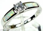 White Topaz & White Fire Opal Inlay 925 Sterling Silver Solitaire Ring 6,7,8,9