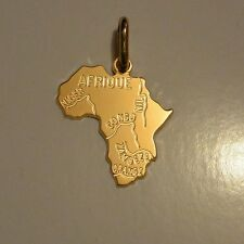 Dolly-Bijoux Pendentif Carte Afrique 25mm Plaqué Or 18K 5 Microns Made In France