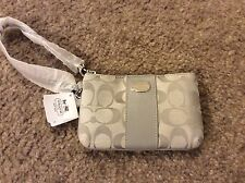 Coach Silver/Grey Small Signature Wristlet 48435 NWT with gift box