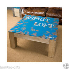 Esprit Loft Coffee Table - Solid Wood Retro Distressed Side / Lamp 100x100x45cm