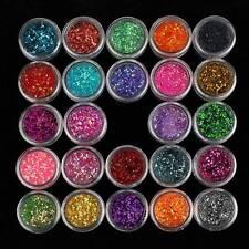 24X Mix Colori Brillantini Glitter Polvere Nail Art Manicure Unghie Decorazione