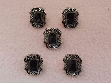 5 x BLACK & SILVER COLOURED ART DECO STYLE OBLONG BUTTONS ~ 30L (approx 17mm)