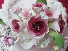 Gum Paste Sugar Mauve Pink White Roses &  White Flowers Cake Decorating Bouquet