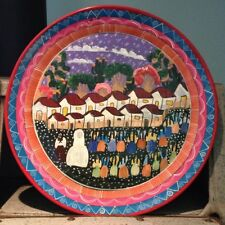 "Guatemala Wedding Party Pottery Plate Primitive Folk Art Ethnic Gem 14"" Vibrant"