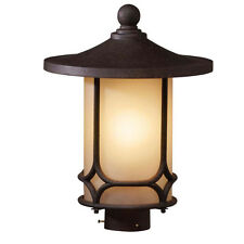 Kichler Aged Bronze And Light Umber Glass Exterior Post Top Light