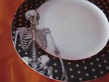 CIROA FINE BONE CHINA HALLOWEEN SKELETON GOLD DOTS DINNER PLATES SET OF 2 NEW