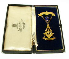 1890s Masonic Grand Master 14k Gold Enamel Brooch Pin in Orig Box Oak Lodge #58