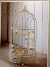 Large vintage lantern tea light candle holder white birdcage rose flowers