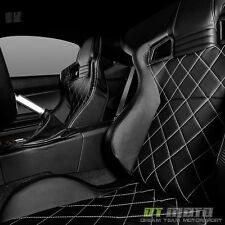 Black/Carbon PU Leather Diamond Reclinable Racing Seat w/Slider Driver LEFT Side