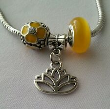 3pcs Yellow Crystal Charm Bead Silver Lotus Flower Dangle for European Bracelet